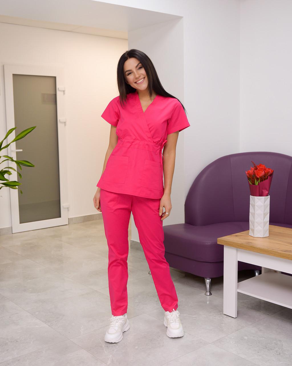 Женский медицинский костюм Эдельвика Premium малиновый