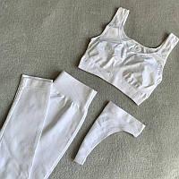 Комплект бесшовный женский (лосины+топ+трусики) для спорта из микрофибры