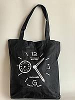 Черная тканевая экосумка шоппер с принтом, фото 1