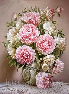 Алмазная вышивка, ваза с розовыми пионами 30х40 см, полная выкладка, круглые стразы стразы