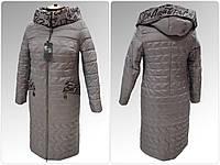 """Жіноча демісезонна куртка-плащ великих розмірів ArDi """"Олена"""" Капучіно, 50"""