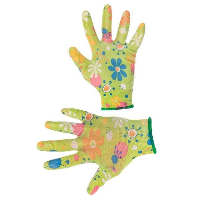 """Перчатки Intertool - садовые нитриловые 8"""" (зеленая) 12 шт."""