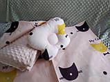 Комплект постельного белья для новорожденных Манюня Единороги в кроватку ( коляску) плед + подушка + простынь, фото 4