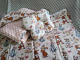 Комплект постельного белья для новорожденных Манюня Единороги в кроватку ( коляску) плед + подушка + простынь, фото 9