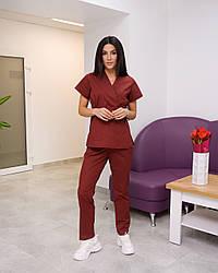 Жіночий медичний костюм Эдельвика Premium бордовий