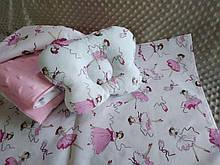 Комплект постельного белья для новорожденных Манюня Балерины в кроватку ( коляску) плед + подушка + простынь