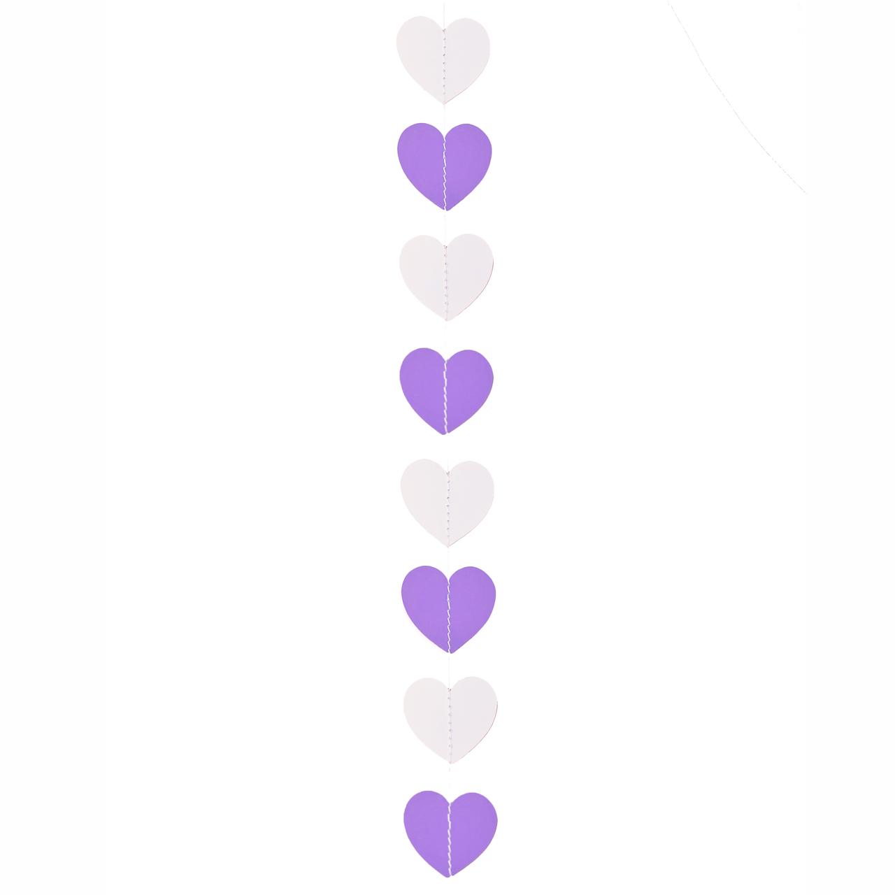 Декор: Гірлянда картон плоска білі і бузкові серця 1,2 м