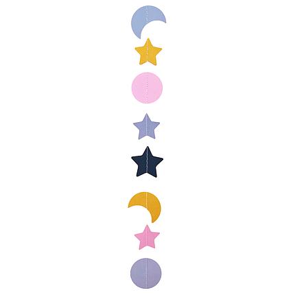 Декор: Гірлянда картон плоска Рожеві, золото і сірі місяця, кола і зірки 1,5 м, фото 2