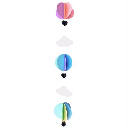 Декор: Гірлянда картон полуобъемная Повітряні кулі і хмари асорті пастель 1,5 м, фото 2