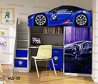 """Кровать чердак  """" БМВ синий """" + цельная наклейка на шкаф"""