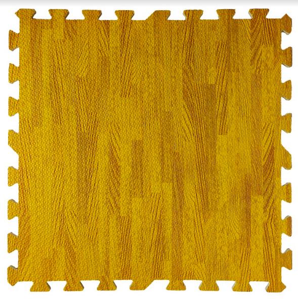 Підлога пазл, м'яке модульне підлогове покриття Бурштинове дерево, упаковка - 4 блоки