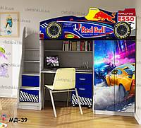 """Кровать чердак  """" Формула 1 """" + цельная наклейка на шкаф"""