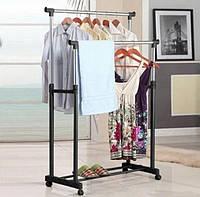 Телескопическая напольная стойка-вешалка для одежды и обуви Double pole Дабл Пол