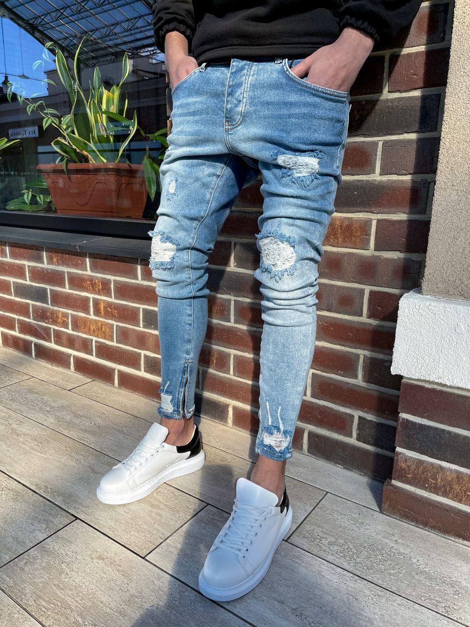 Чоловічі джинси голубі рвані BLI 22