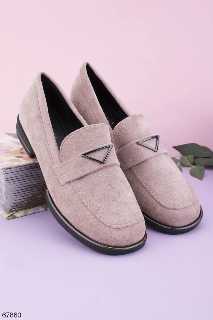 Жіночі лофери -бежеві туфлі замша еко