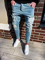 Мужские джинсы рваные голубые BLI 26