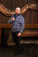 Куртка рубашка с капюшоном мужская весенняя осенняя в клеточку стильная модная синяя, фото 1