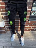 Мужские джинсы рваные черные BLI 23