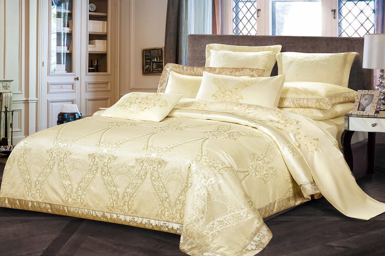 Двуспальный комплект постельного белья евро 200*220 жаккард сатин (16660) TM КРИСПОЛ Украина