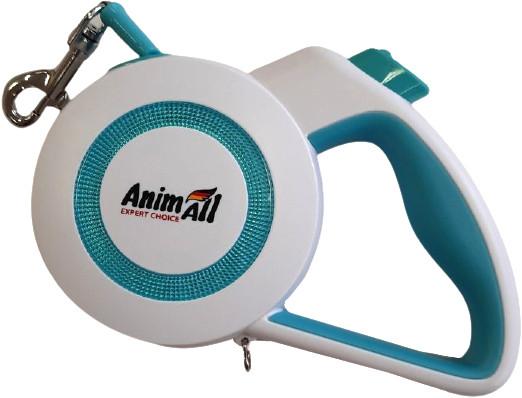 Поводок-рулетка AnimAll Reflector для собак весом до 15 кг, 3 м, S бело-голубой, MS7110-3M Энимал