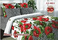 Постельное белье двуспальное хлопок 100 % Двуспальный комплект постельного белья двуспалка 3Д Маки