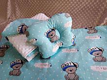 Комплект постельного белья для новорожденных Манюня Мишки в кроватку ( коляску) плед + подушка + простынь