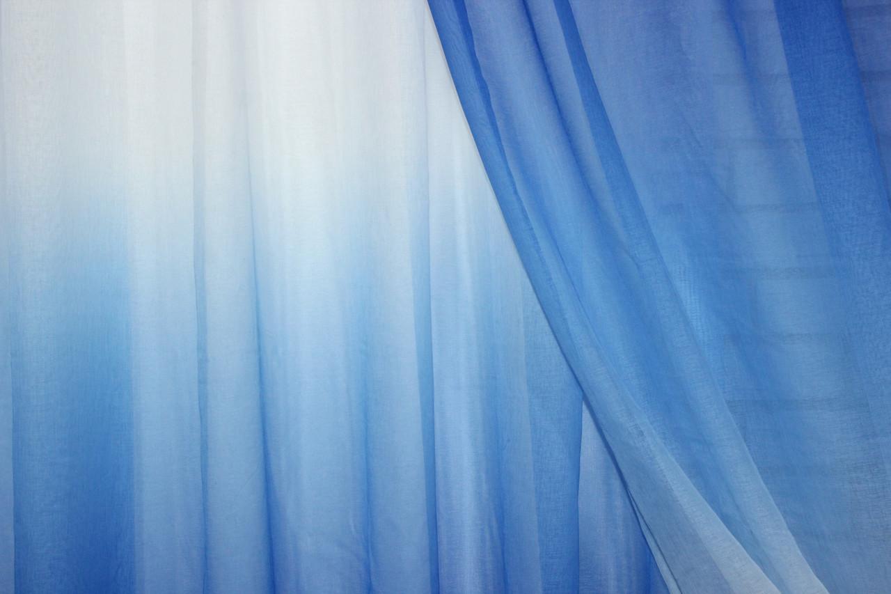 """Відріз (4,7х2,7м) тканини, тюль розтяжка """"Омбре"""" на батисті (під льон). Колір синій з білим. Код 507ту 00-213"""