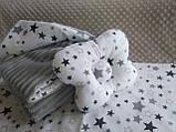 Комплект постельного белья для новорожденных Манюня Единорог в кроватку ( коляску) плед + подушка + простынь, фото 2