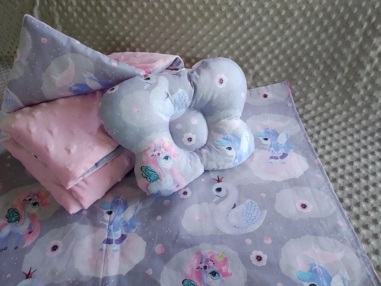 Комплект постельного белья для новорожденных Манюня Единорог в кроватку ( коляску) плед + подушка + простынь