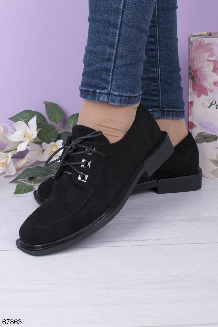 Жіночі чорні туфлі на шнурівці еко замш