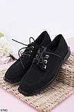 Жіночі чорні туфлі на шнурівці еко замш, фото 2