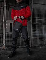 Костюм мужской The North Face Ветровка красная - черная+Штаны черные+подарок Барсетка осенний / весенний