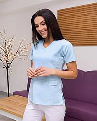 Жіноча медична блуза Асія колір блакитний