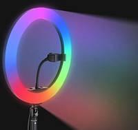 Набор блогера Цветная Селфи лампа кольцо 26см Кольцевая RGB Led лампа 26см тик ток ютуб  кольцевой свет