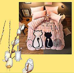 """Полуторний комплект """"Котики на рожевому"""" із бязі голд (наволочка 50х70)"""