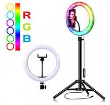 Кольцевая RGB лампа 26 см со штативом | Селфи кольцо для телефона MJ26, фото 3