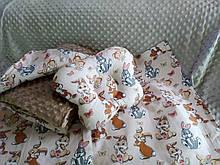 Комплект постельного белья для новорожденных Манюня Зайчики в кроватку ( коляску) плед + подушка + простынь