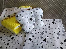Комплект постельного белья для новорожденных Манюня Звезды в кроватку ( коляску) плед + подушка + простынь