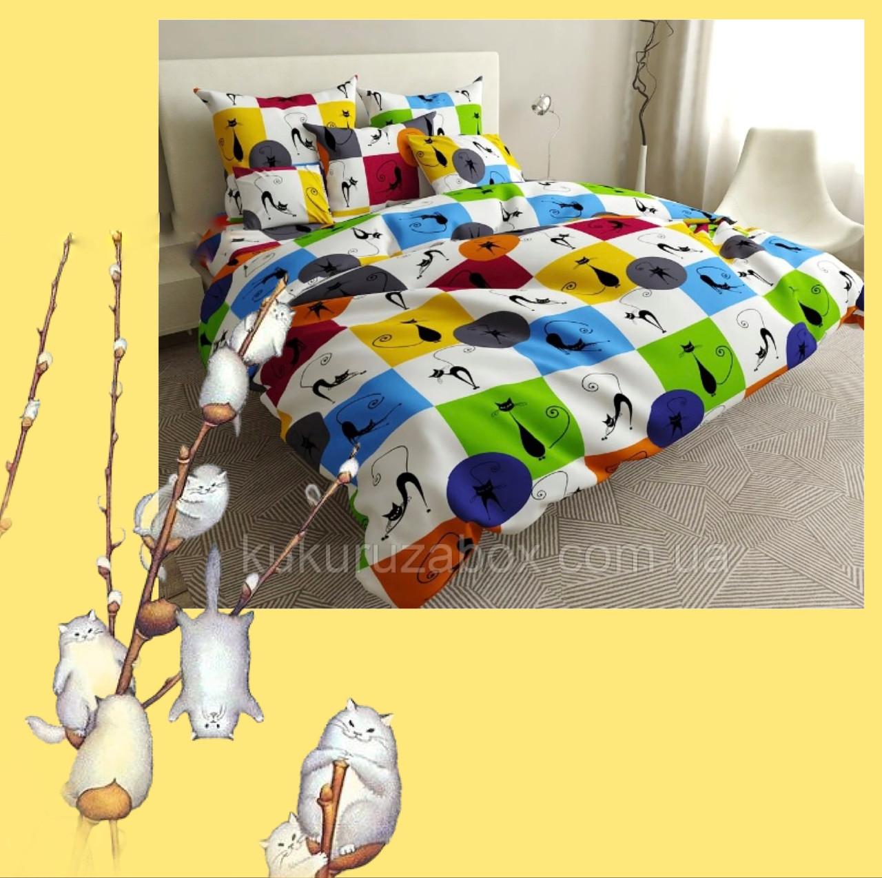 """Комплект дитячий в ліжечко з ранфорсу з простирадлом на резинці під замовлення """"Різнокольорові котики"""""""