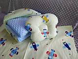 Комплект постельного белья для новорожденных Манюня в кроватку ( коляску) плед + подушка + простынь, фото 7