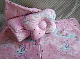 Комплект постельного белья для новорожденных Манюня в кроватку ( коляску) плед + подушка + простынь, фото 3