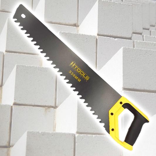 Ножовка по пенобетону, 550 мм. Тефлоновое покрытие полотна, прорезиненная рукоятка. HTools, 10K760
