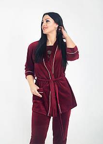 Жіночий домашній костюм велюровий Бордовий