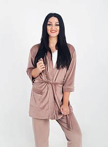 Жіночий домашній костюм велюровий Капучіно