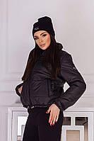 Куртка женская весенняя короткая демисезонная дутая куртка черного цвета, фото 1