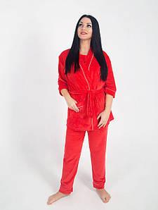 Жіночий домашній костюм велюровий Червоний