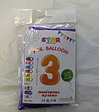 """Фольгована цифра Slim STAR фіолетовий """"3"""" 40"""" (102см) в упаковці, фото 2"""