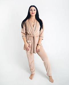 Жіночий домашній костюм велюровий Бежевий