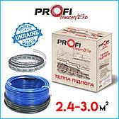 Теплый электро пол 2.4-3.0м² (400Вт)  ProfiTherm Eko-2  (24 м/п) Нагревательный кабель