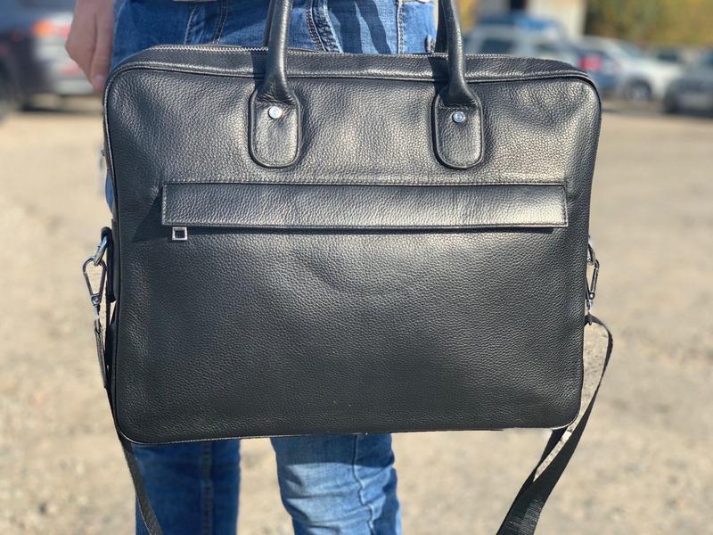 Ділова портфель - сумка чоловіча шкіряна для ноутбука і документів чорна Tiding Bag